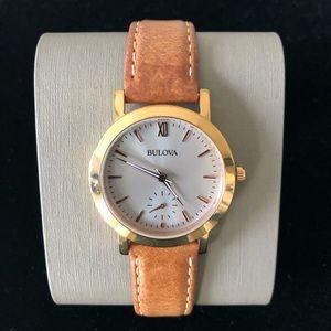 BULOVA Women's Classic Rose Gold Tan Leather Watch
